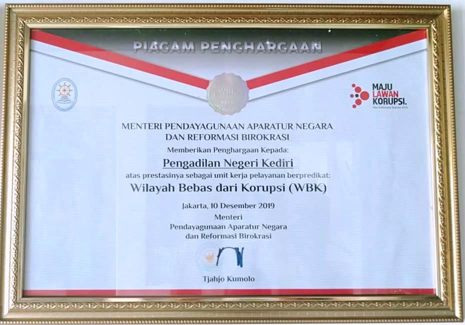 Apresiasi dan Penganugerahan Zona Integritas Menuju Wilayah Birokrasi Bebas dari Korupsi (WBK)